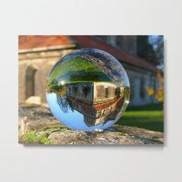 Church seen through glass ball Metal Print