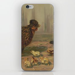 Vintage Chicken Farm and a Dog Illustration (1891) iPhone Skin