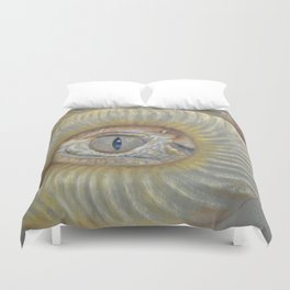 Scary Dragon Eye Weird Reptilian Monster Eye Surreal pastel drawing Fantasy Book illustration Duvet Cover