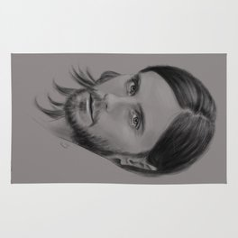 Jared Leto Digital Portrait grey LLFD Rug