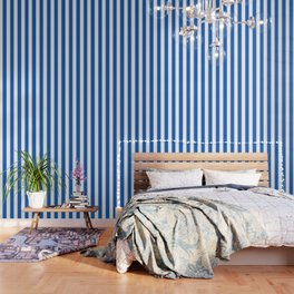 Denim turquoise - solid color - white vertical lines pattern Wallpaper