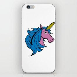 Cartoon Unicorn on the Cob - Blue Cornstalk pun iPhone Skin