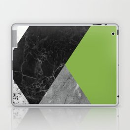Black and White Marbles and Pantone Greenery Color Laptop & iPad Skin