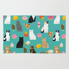 Cat breeds junk foods ice cream pizza tacos donuts purritos feline fans gifts Rug