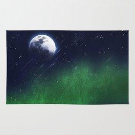 The moon and the aurora borealis Rug