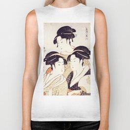 Three Beauties of the Present Day - Japanese Woodblock Print Biker Tank