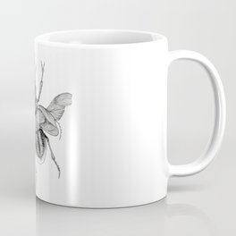 Dotwork Flying Beetle Illustration Coffee Mug