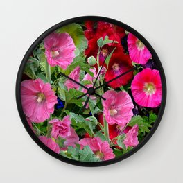 DECORATIVE PINK & RED GARDEN HOLLYHOCKS Wall Clock