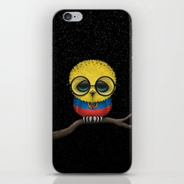 Baby Owl with Glasses and Ecuadorian Flag iPhone Skin
