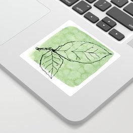 Two Leaves on Green Sticker
