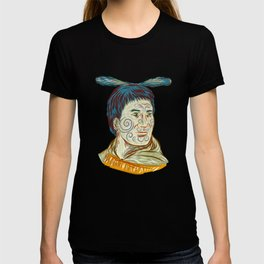 Maori Chieftain Warrior Head Drawing T-shirt