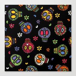 Sugar Skulls on Black Canvas Print