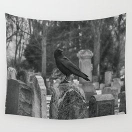 Crow In Shades Of Stone Wall Tapestry