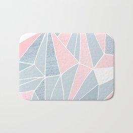 Cool blue/grey and pink geometric prism pattern Bath Mat