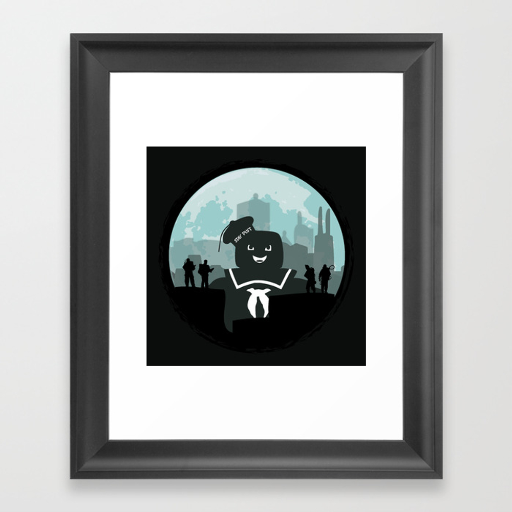 Ghostbusters Versus The Stay Puft Marshmallow Man Framed Art Print by Kamonkey FRM2081246