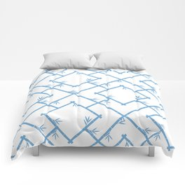 Bamboo Chinoiserie Lattice in White + Light Blue Comforters