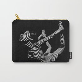 0018-DJA Nude Yoga Flexible Woman Zebra Striped Black and White Abstract Photograph Carry-All Pouch