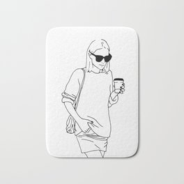 Woman with Coffee Bath Mat