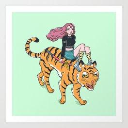 Tiger rider Art Print