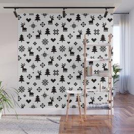 PIXEL PATTERN - WINTER FOREST Wall Mural