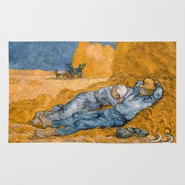 Noon - rest from work by Vincent van Gogh Rug