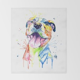 Pit Bull, Pitbull Watercolor Painting - The Softer Side Throw Blanket