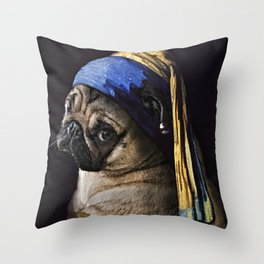 Pug with a Pearl Earring Throw Pillow