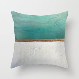 Northern Lights (teal)  Encaustic Painting Throw Pillow