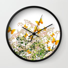 WHITE ART GARDEN ART OF YELLOW BUTTERFLIES Wall Clock