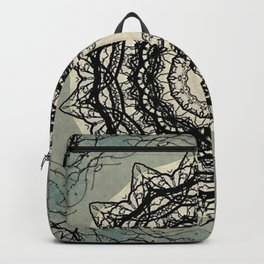 Tree Lace Black Cream Blue Pattern Kaleidoscope A541pt1 Backpack