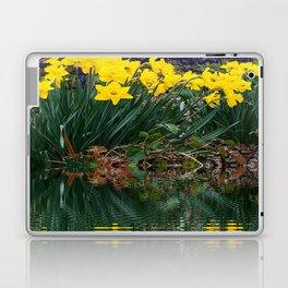 PUCE & YELLOW DAFFODILS WATER REFLECTION PATTERN Laptop & iPad Skin