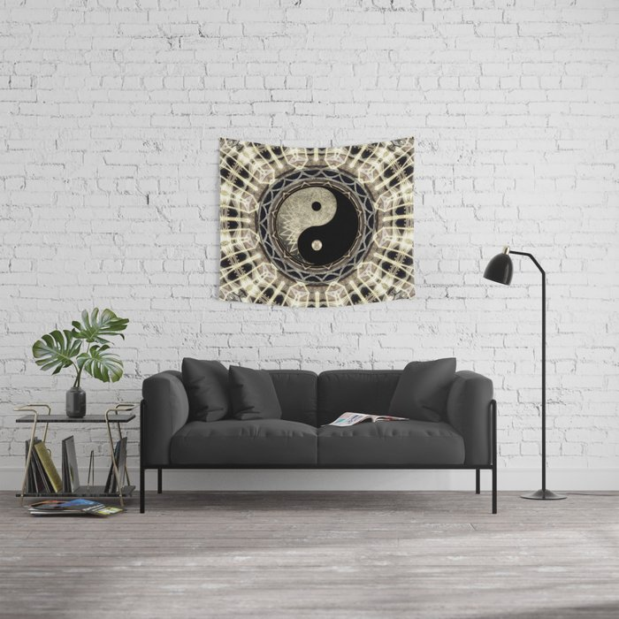 Yin Yang Geometry Mandala V1 Wall Tapestry