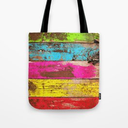 Vintage Colored Wood Tote Bag