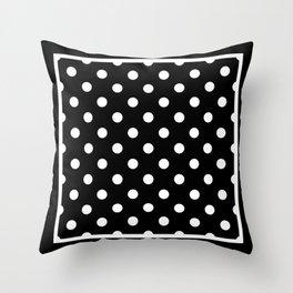 Black Polka Dots Palm Beach Preppy Throw Pillow