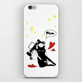Black Cat with crossbow iPhone Skin