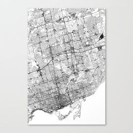 Toronto White Map Canvas Print
