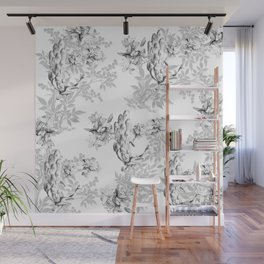 PEACOCK LILY TREE AND LEAF TOILE GRAY AND WHITE PATTERN Wall Mural