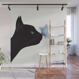 Cat and Butterfly Wall Mural