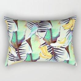 Exotic pattern of banana leaves and bananas Rectangular Pillow