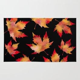 Maple leaves black Rug