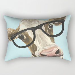 Cute Glasses Cow Up Close Cow With Glasses Rectangular Pillow
