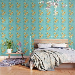 Tropical Turquoise Frangipani Wallpaper