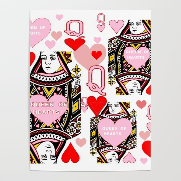 RED &  PINK QUEEN OF HEARTS CASINO ART Poster