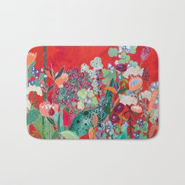Floral Jungle on Red with Proteas, Eucalyptus and Birds of Paradise Bath Mat