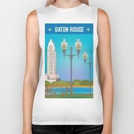 Baton Rouge, Louisiana - Skyline Illustration by Loose Petals Biker Tank