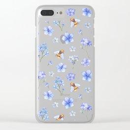 Elegant lavender brown watercolor honey bee floral Clear iPhone Case