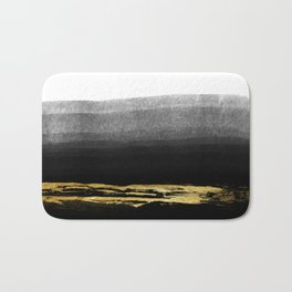 Black & Gold Stripes on White - Mix & Match with Simplicty of life Bath Mat