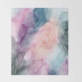 Dark and Pastel Ethereal- Original Fluid Art Painting Throw Blanket