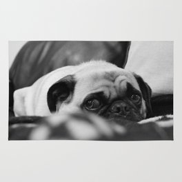 Ruby Rose the pug, having a bad day Rug