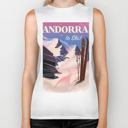 Andorra Ski poster Biker Tank